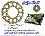 LIGHTWEIGHT 520 Pitch - EXTREME RACE GEARING: Renthal Sprockets and GOLD Renthal SRS Chain - Aprilia RSV Mille R/SP (01-03)